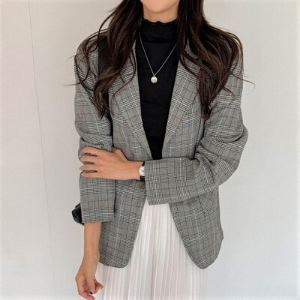 MERONGSHOP - Single-Button Plaid Blazer