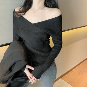MsBlossom - Off-Shoulder Ribbed Wrap Knit Top