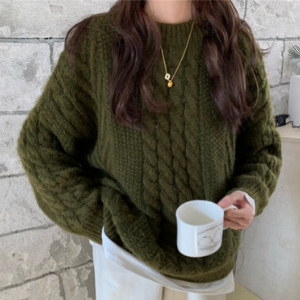 PinkGirl - Crew-Neck Cable Knit Sweater