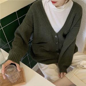 MissLady - Long-Sleeve Plain Knit Cardigan