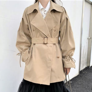 Rosy.B - Tie-Sleeve Trench Coat with Belt