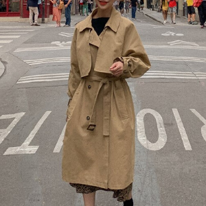 MERONGSHOP - Double-Breasted Trench Coat with Sash