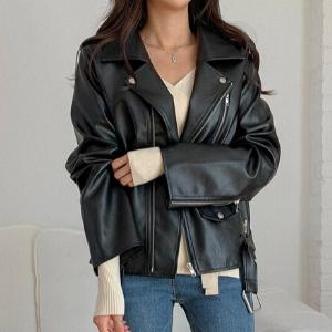MERONGSHOP - Faux Leather Biker Jacket