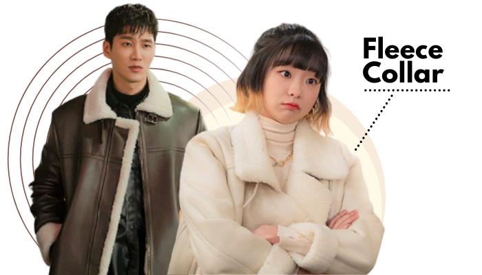 Itaewon Class Fashion Trend - Kim Da-mi and Ahn Bo-hyun Fleece Collar Jacket