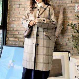 MissLady - Single-Breasted Plaid Coat