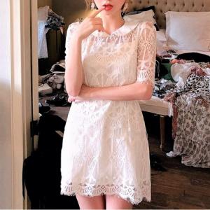 chuu - Peter-Pan Collar Lace Mini dress