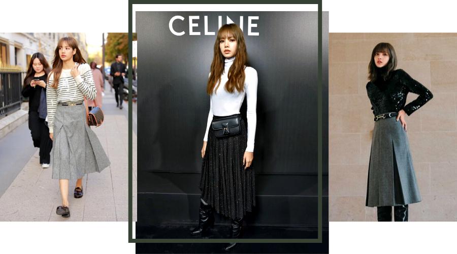 Blackpink Lisa Fashion Style Street Outfits Midi Skirt Paris Fashion