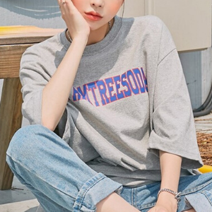 chuu - Elbow-Sleeve Lettering Print T-Shirt