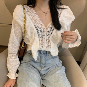 MissLady - Crochet Panel Lace Blouse
